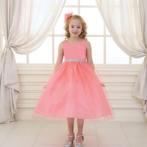 Flower Girl Dress with Shiny Accent Trim Coral