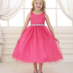 Flower Girl Dress with Shiny Accent Trim Fuschia