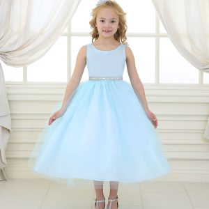 Flower Girl Dress with Shiny Accent Trim Light Blue