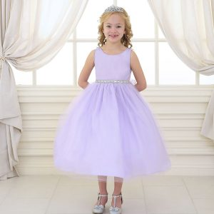Flower Girl Dress with Shiny Accent Trim Lilac