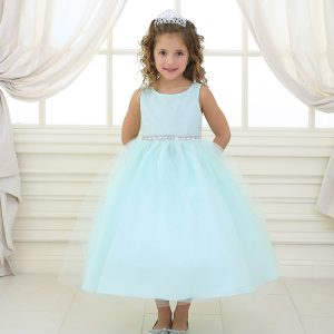 Flower Girl Dress with Shiny Accent Trim Mint