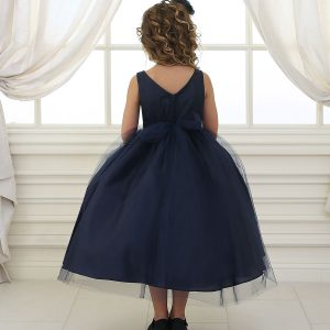 Flower Girl Dress with Shiny Accent Trim Navy