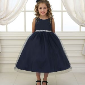 Flower Girl Dress with Shiny Accent Trim Navy Blue