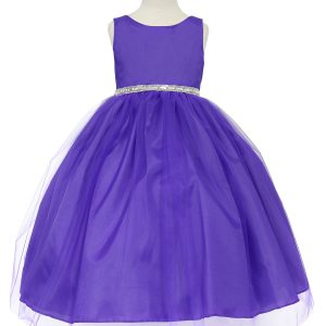 Flower Girl Dress with Shiny Accent Trim Purple