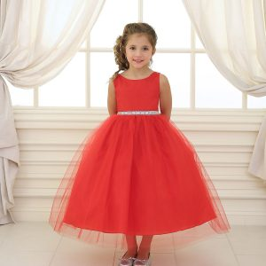 Flower Girl Dress with Shiny Accent Trim Red