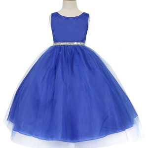 Flower Girl Dress with Shiny Accent Trim Royal Blue