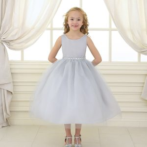 Flower Girl Dress with Shiny Accent Trim Silver