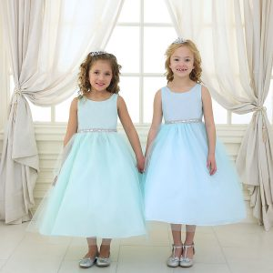Flower Girl Dress with Shiny Accent Trim Tea Length
