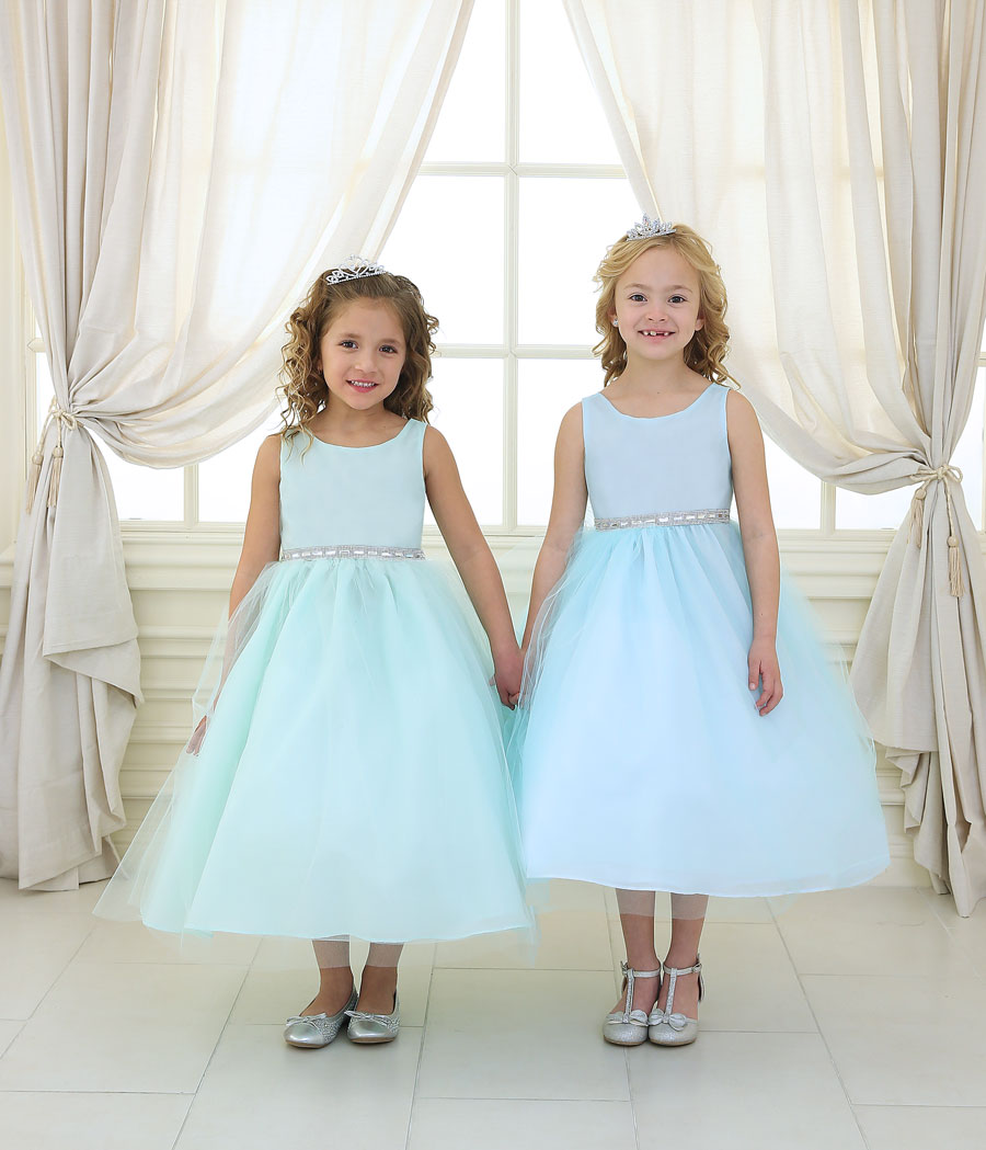 Flower Girl Dress with Shiny Accent Trim – FirstCommunions.com