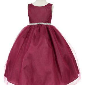 Flower Girl Dress with Shiny Accent Trim Wine