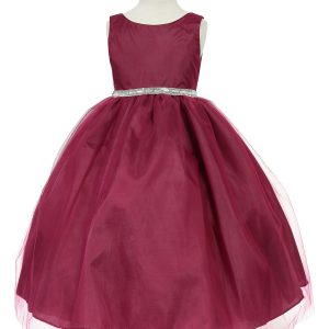 Flower Girl Dress with Shiny Accent Trim Wine