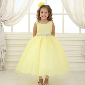 Flower Girl Dress with Shiny Accent Trim Yellow