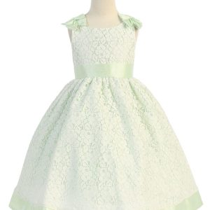 Flower Girl Dress with Soft Lace Mint