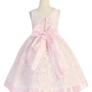 Flower Girl Dress with Soft Lace Pink