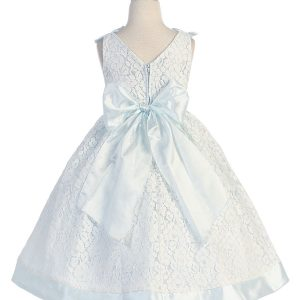 Flower Girl Dress with Soft Lace Sky Blue