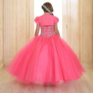 Girls Beaded Ball Gown Bolero Jacket Hot Pink