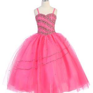 Girls Beaded Ball Gown Corset Back Bolero Jacket Hot Pink