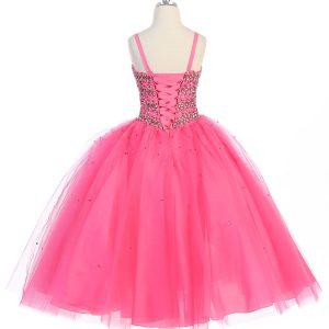Girls Beaded Ball Gown Corset Tie Back Bolero Jacket Hot Pink