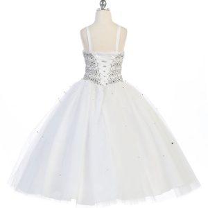 Girls Beaded Ball Gown Corset back Bolero Jacket White