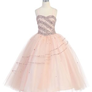 Girls Beaded Ball Gown Long Length with Bolero Jacket Blush
