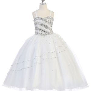 Girls Beaded Ball Gown or First Communion Bolero Jacket White