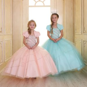 Girls Beaded Ball Gown with Bolero Jacket