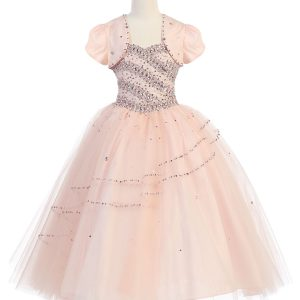 Girls Beaded Ball Gown with Bolero Jacket Blush