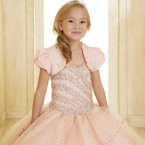Girls Beaded Ball Gown with Bolero Jacket Blush Pink