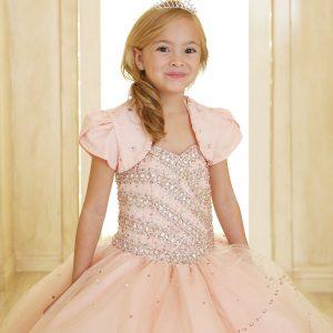 Girls Beaded Ball Gown with Bolero Jacket Blush Pink