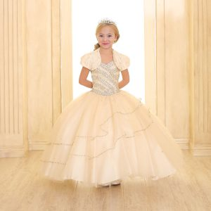 Girls Beaded Ball Gown with Bolero Jacket Champagne