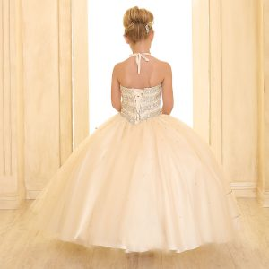 Girls Beaded Ball Gown with Bolero Jacket Champagne Corset Back