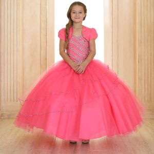 Girls Beaded Ball Gown with Bolero Jacket Hot Pink