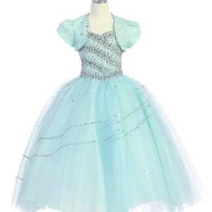 Girls Beaded Ball Gown with Bolero Jacket Mint