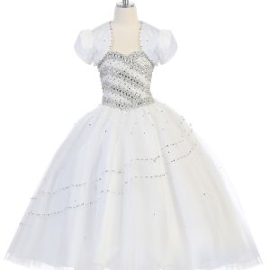 Girls Beaded Ball Gown with Bolero Jacket White