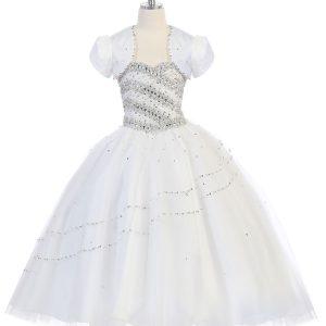 Girls Beaded Ball Gown with Bolero Jacket White