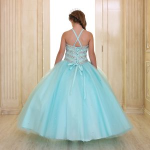 Girls Beaded Ball Gown with Bolero Jacket and Corset Back Aqua
