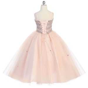 Girls Beaded Ball Gown with Corset Back and Bolero Jacket Blush