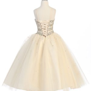 Girls Beaded Ball Gown with Corset Back and Bolero Jacket Champagne