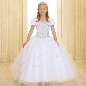 Girls Beaded Communion Gown with Bolero Jacket White