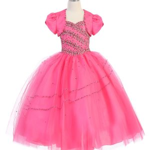 Girls Beaded Hot Pink Ball Gown with Bolero Jacket