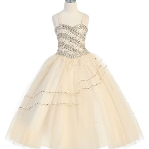 Girls Beaded Long Length Ball Gown with Bolero Jacket Champagne