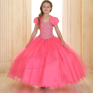 Girls Beaded Long Length Ball Gown with Bolero Jacket Hot Pink