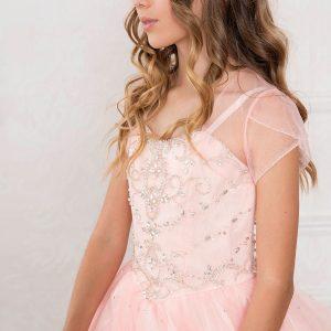 Girls Blush Pageant Dress with Rhinestone Bodice