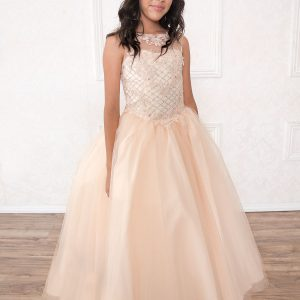 Girls Blush Pageant Gown with Rhinestone Basket Weave Design