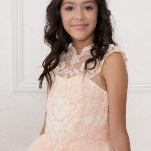 Girls Blush Pink Pageant Dress Tulle with Lace Accents