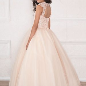 Girls Blush Pink Pageant Dress long length with Lace Accents