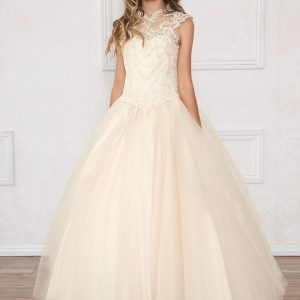Girls Champagne Pageant Dress Tulle with Lace Accents