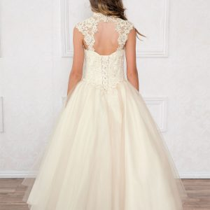 Girls Champagne Pageant Dress Tulle with Lace Accents Open Back