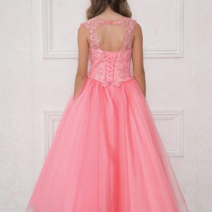 Girls Coral Pageant Gown with Rhinestone Basket Weave Design