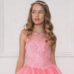 Girls Coral Pageant Gown with Rhinestone Basket Weave Design Sweetheart Neckline